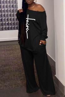 Black Casual Print Split Joint Slit Oblique Collar Long Sleeve Two Pieces