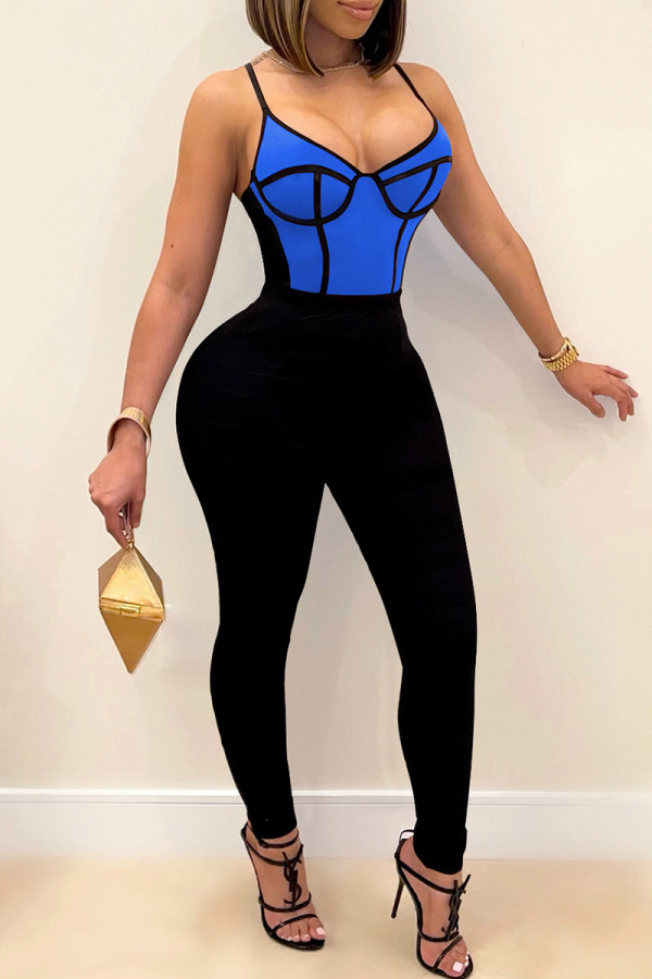 Blue Fashion Sexy Patchwork Backless Spaghetti Strap Skinny Jumpsuits