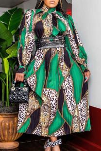 Green Fashion Casual Print Basic Turtleneck Long Sleeve Dresses (Without Belt)