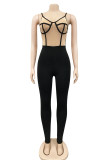 Rose Red Fashion Sexy Patchwork Backless Spaghetti Strap Skinny Jumpsuits