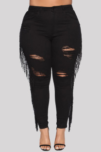 Black Fashion Casual Solid Tassel Ripped Plus Size Jeans