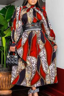 Red Fashion Casual Print Basic Turtleneck Long Sleeve Dresses (Without Belt)