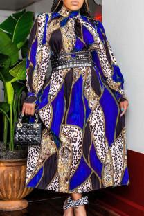Blue Fashion Casual Print Basic Turtleneck Long Sleeve Dresses (Without Belt)