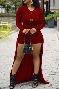 Burgundy Fashion Casual Solid Hollowed Out Slit O Neck Long Sleeve Two Pieces