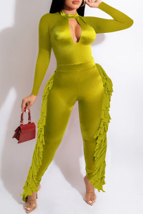Fluorescent Green Fashion Casual Solid Tassel Hollowed Out O Neck Regular Jumpsuits
