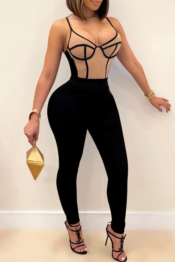 Apricot Fashion Sexy Patchwork Backless Spaghetti Strap Skinny Jumpsuits