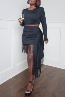 Black Fashion Casual Solid Tassel Asymmetrical O Neck Long Sleeve Two Pieces