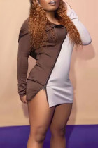 Brown Fashion Casual Patchwork Zipper Hooded Collar Long Sleeve Dresses