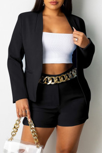 Black Fashion Casual Solid Cardigan Turndown Collar Long Sleeve Two Pieces