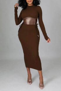 Brown Elegant Solid Split Joint Frenulum O Neck One Step Skirt Dresses