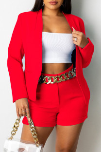Red Fashion Casual Solid Cardigan Turndown Collar Long Sleeve Two Pieces