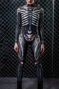 Black Skull Head Print Split Joint Half A Turtleneck Regular Jumpsuits