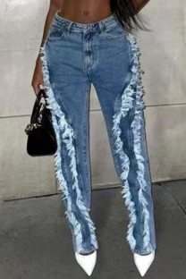 Baby Blue Street Solid Make Old Split Joint High Waist Regular Denim Jeans