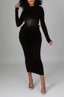 Black Elegant Solid Split Joint Frenulum O Neck One Step Skirt Dresses