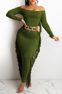 Ink Green Fashion Casual Solid Tassel Off the Shoulder Long Sleeve Dresses (Without Belt)