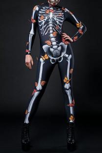 Black Punk Print Skull Split Joint Half A Turtleneck Regular Jumpsuits