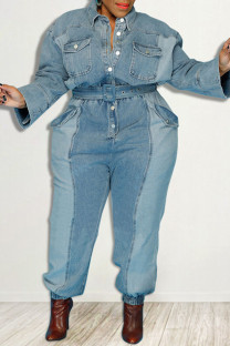 Light Blue Casual Solid Make Old Split Joint Pocket Buckle Turndown Collar Plus Size Jumpsuits