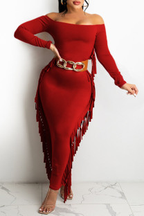 Red Fashion Casual Solid Tassel Off the Shoulder Long Sleeve Dresses (Without Belt)