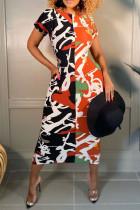 Black Fashion Casual Patchwork Printing O Neck Short Sleeve Dress
