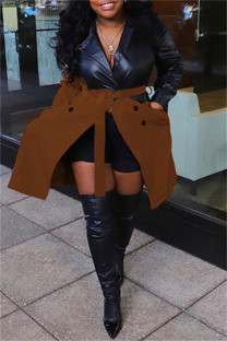 Brown Fashion Casual Patchwork With Belt Turndown Collar Plus Size Overcoat