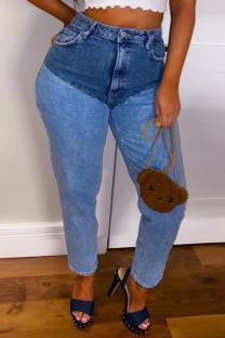 Blue Casual Solid Split Joint High Waist Regular Denim Jeans