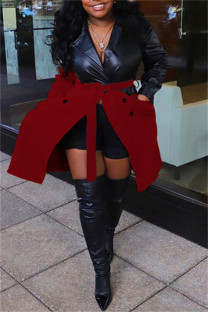 Red Fashion Casual Patchwork With Belt Turndown Collar Plus Size Overcoat