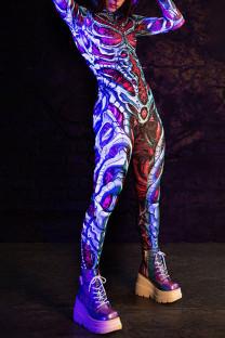 Purple Punk Print Skull Split Joint Hooded Collar Regular Jumpsuits