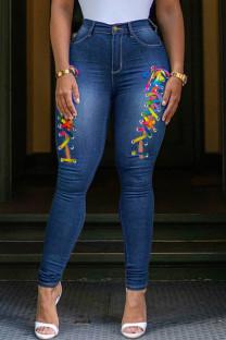 Medium Blue Fashion Casual Solid Bandage Split Joint Plus Size Jeans