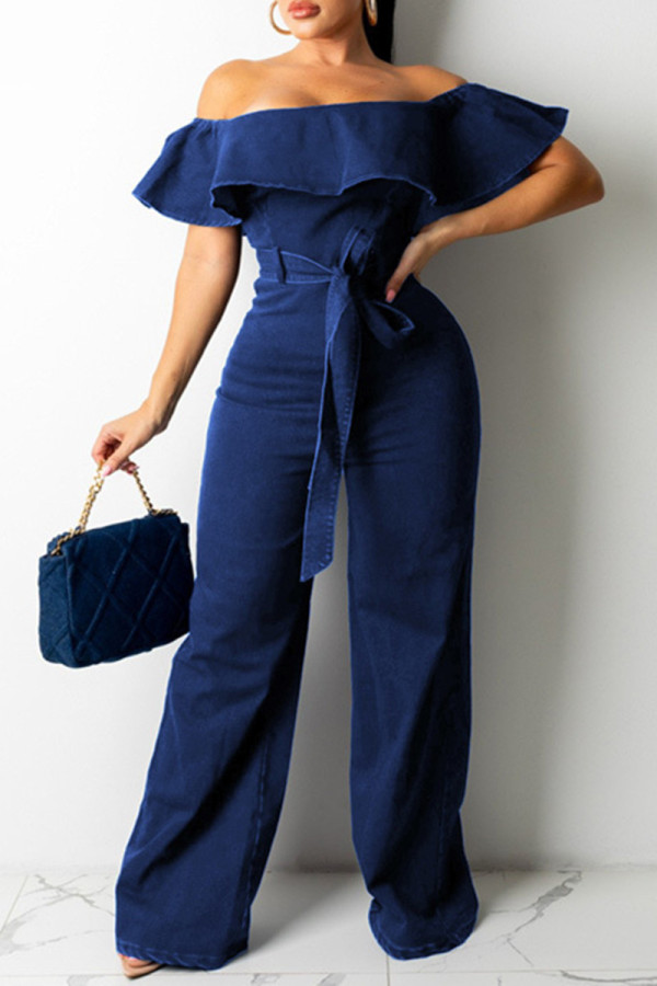 Dark Blue Fashion Casual Solid Backless Off the Shoulder Plus Size Jumpsuits