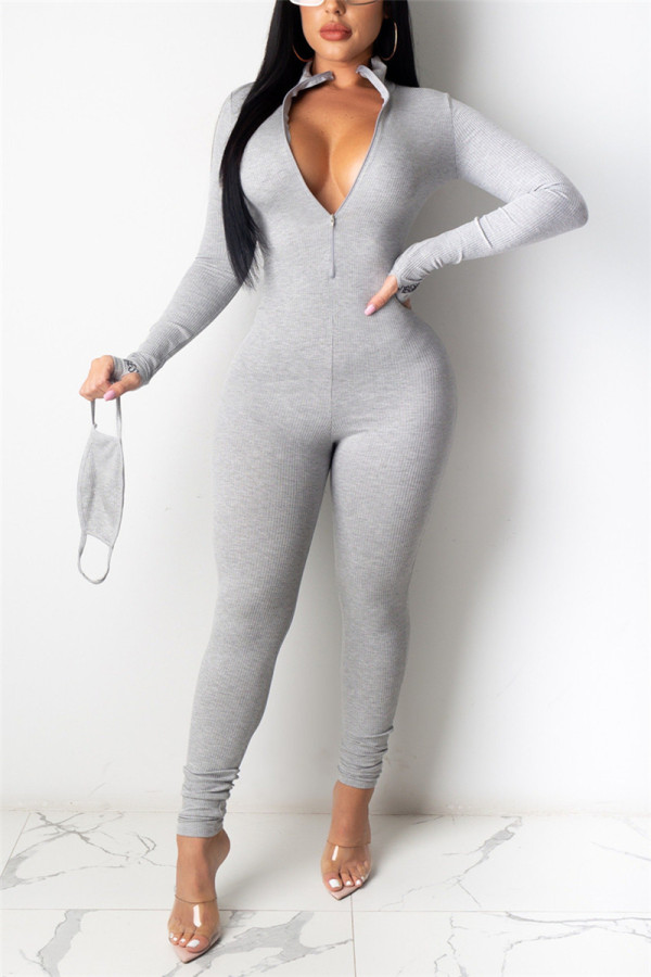 Gray Fashion Sexy Zipper Collar Long Sleeve Regular Sleeve Skinny Letter Embroidery Jumpsuits