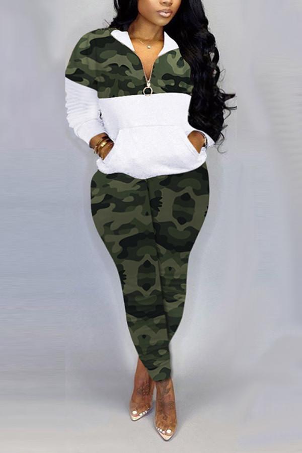 Green Fashion Casual Zipper Collar Long Sleeve Regular Sleeve Patchwork Camouflage Print Plus Size Set