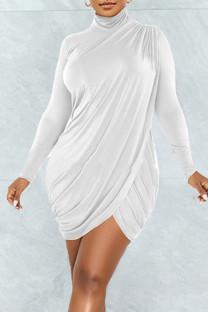 White Sexy Solid Split Joint Fold Asymmetrical Turtleneck One Step Skirt Dresses