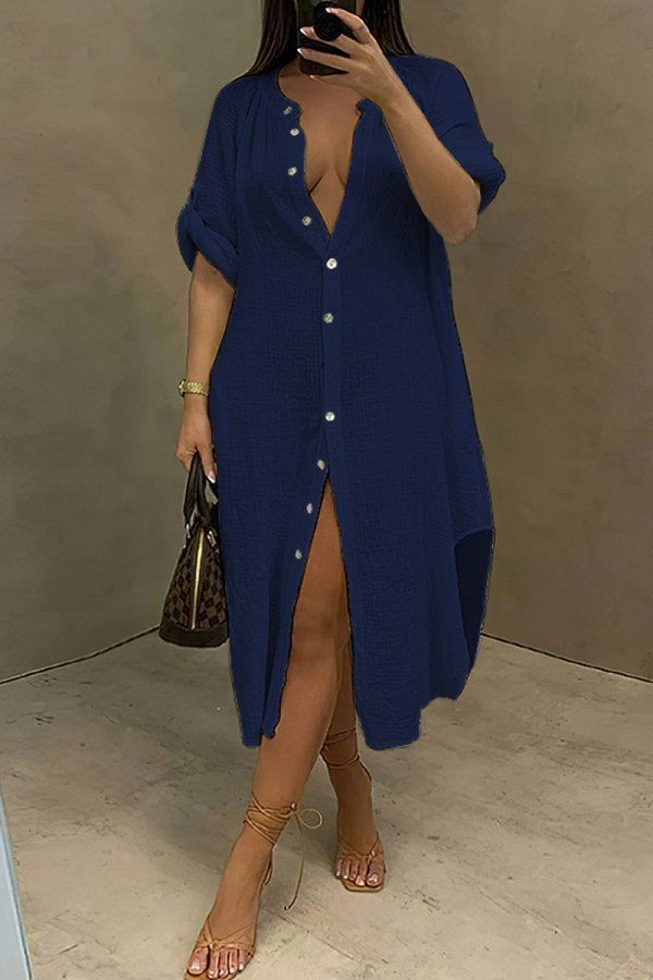 Tibetan Blue Fashion Casual Solid Split Joint Turndown Collar Long Sleeve Dresses