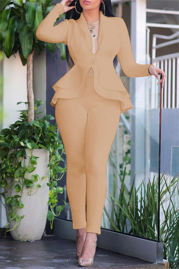 Khaki Fashion Casual Solid Split Joint Flounce Turndown Collar Long Sleeve Two Pieces