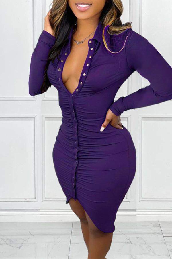 Purple Fashion Casual Solid Fold Turndown Collar Long Sleeve Dresses