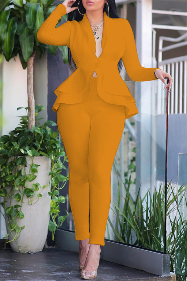 Yellow Fashion Casual Solid Split Joint Flounce Turndown Collar Long Sleeve Two Pieces