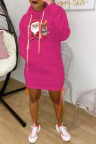 Rose Red Fashion Print Santa Claus Bandage Pocket Hooded Collar One Step Skirt Dresses
