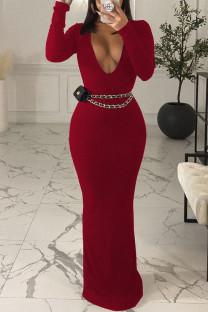 Burgundy Sexy Solid Split Joint V Neck One Step Skirt Dresses(Without Belt)