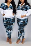 Blue Fashion Casual Zipper Collar Long Sleeve Regular Sleeve Patchwork Camouflage Print Plus Size Set