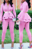 Burgundy Fashion Casual Solid Split Joint Flounce Turndown Collar Long Sleeve Two Pieces