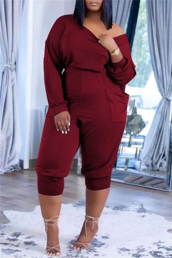 Burgundy Fashion Casual Solid Pocket Oblique Collar Regular Jumpsuits
