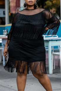 Black Fashion Sexy Patchwork Solid Tassel O Neck Plus Size Dresses