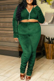 Green Casual Solid Split Joint Fold Zipper Zipper Collar Plus Size Two Pieces