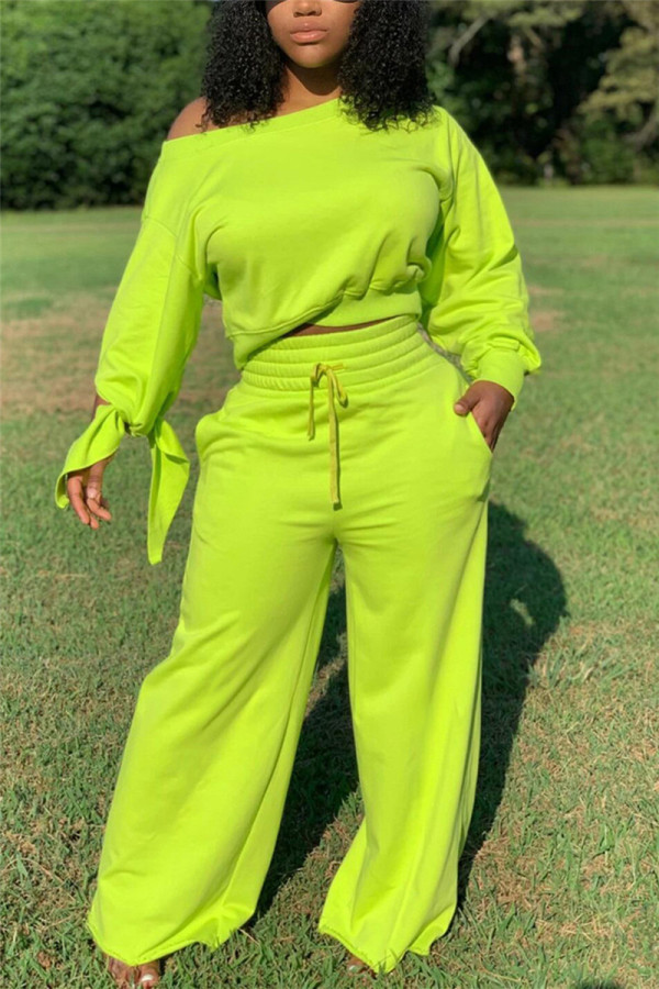 Fluorescent Green Fashion Casual Long Sleeve Oblique Collar Regular Sleeve Short Solid Two Pieces