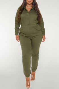 Army Green Fashion Casual Solid Basic Turndown Collar Plus Size Jumpsuits