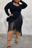 Black Sexy Casual Solid Tassel Split Joint Asymmetrical O Neck Long Sleeve Plus Size Dresses