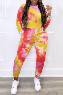 Red Casual Print Tie Dye Split Joint O Neck Plus Size Two Pieces