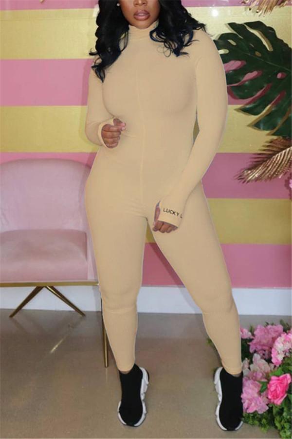 Khaki Fashion Sexy Zipper Collar Long Sleeve Regular Sleeve Skinny Letter Embroidery Jumpsuits