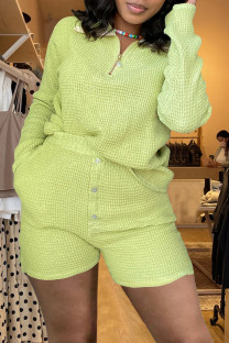 Green Fashion Casual Solid Split Joint Turndown Collar Long Sleeve Two Pieces