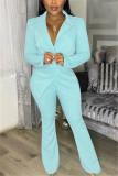 Pink Fashion Casual Long Sleeve Turndown Collar Regular Sleeve Regular Solid Two Pieces